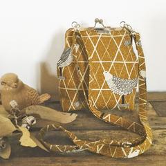 Mustard Quail print Handbag (sml/long)