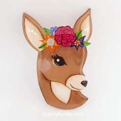Doe Deer Hand Painted Brooch
