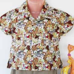 Boy's Button up Shirt - Cats and Dogs
