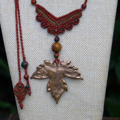 Maple Bronze Necklace with Picasso Jasper Beads