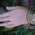 Fern Leaf Silk Wrap Bracelet - Roman Bronze