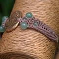 Fern Charm Bracelet Lemon Brass with Green Adventurine Beads