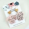 Blush Pink Coral Stud Dangle Statement Earrings - Lasercut Wood Earrings