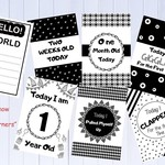Baby Milestone Cards, Monochrome, Black and White, Pack of 34 Cards Unisex