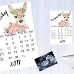 Pregnancy Announcement Due Date Month Calendar, Personalised, Pack of 10 (4x6)