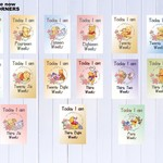 Pregnancy Milestone Cards, Pooh Bear Theme, Unisex, Pack of 30 Cards