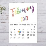 Pregnancy Announcement Month Calendar, Due Date, Personalised, A4 Size, Rainbow