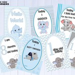 Baby Milestone Cards, Elephants, Boys, Blue, Baby Shower Gift, Pack of 35 Cards