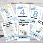 Baby Milestone Cards, Boys, Blue, Pack of 29 Cards