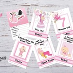 Baby Milestone Cards, Girls, Pink, Baby Shower Gift, Pack of 29 Cards