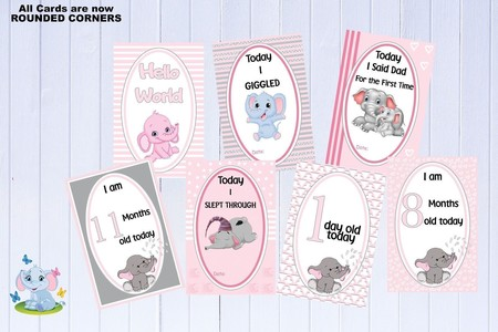 Baby Milestone Cards, Elephants, Girls, Pink, Baby Shower Gift, Pack of 35 Cards
