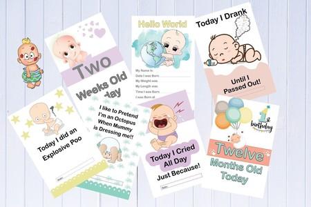 Alternative Baby Milestone Cards, Funny Milestones, Pack of 33 Cards
