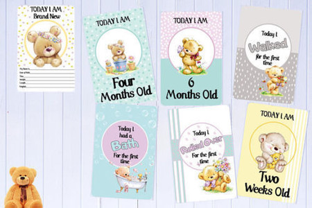 Baby Milestone Cards, Teddy Bears, Unisex, Baby Shower Gift, Pack of 34 Cards