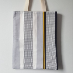 Large lined tote bag in stripes print made with cotton fabric
