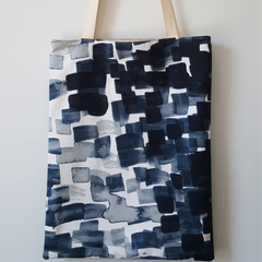 Large lined tote bag with brushstrokes print made with cotton fabric