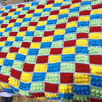 Brick Crochet Blanket, colourful Blocks Blanket, All Colours, cozy boy afghan, p