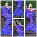 Mermaid Tail Blanket, Mermaid Throw, Teen size Crochet Mermaid Tail