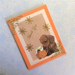 Orange Thank You Card with Dachshund and Rose in a Basket