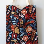 Large floral lined tote bag made with cotton fabric
