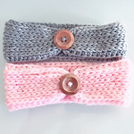 Baby Headband, Baby Earwarmer, crochet headwrap, Knit headband, Knit look button