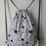 Unlined drawstring backpack in cat print made in cotton fabric
