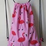 OUMU pink flamingo large lined drawstring backpack made with cotton fabric