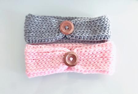 Baby Headband, Baby Earwarmer, crochet headwrap, Knit headband, Knit look button