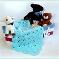 Mint Hand Crocheted Newborn Baby Blanket