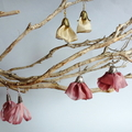 Hand made coffee & gold organza ribbon earrings