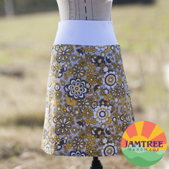 Ladies Skirt Yellow & Grey Florals