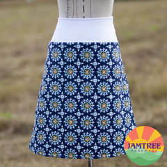 Ladies Skirt Blue Geo Patterns