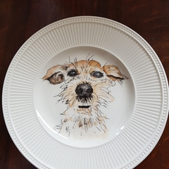 Hand painted Scruffy Dog on Plate