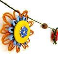 Hemp Twine Paper Raffia Flower Garland Wall Hanging Decoration Rustic Button