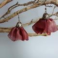 Rose pink organza ribbon earrings