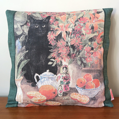 Vintage Retro Black Cat Cushion