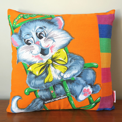 Vintage Retro Happy Cat Cushion