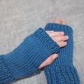 Toddler fingerless gloves - teal blue / soft Australian wool / 1-3 years