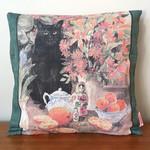 Vintage Retro Black Cat Cushion