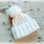 Newborn White Ribbed Crocheted Baby Beanie with Pompom