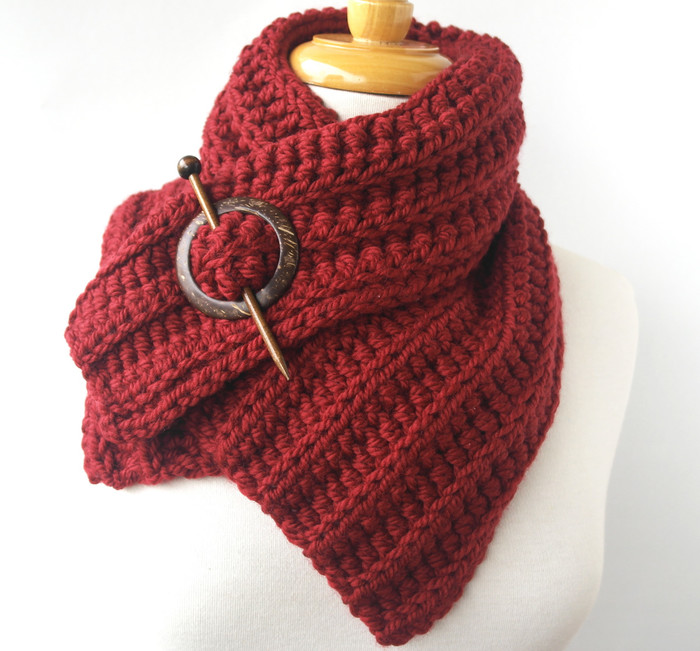 Red Crochet Knit Scarf Chunky Wool Cowl Sesen Tarot Madeit Com Au