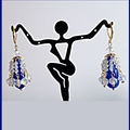 Sapphire teardrop and crystal chandelier earrings
