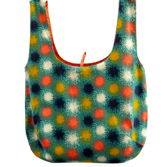 Reversible cotton market bag in teal and orange
