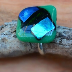 Green, blue and black fused glass ring.