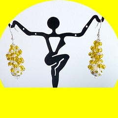 Silver and golden yellow cascading earrings