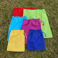 Set of 4 extra large cotton drawstring bags,  primary colours, storage, toys