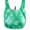 Reversible cotton market bag in blues and greens