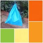 Extra large cotton drawstring bag, orange/green/yellow for school, storage, toys