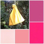 Small cotton drawstring bag,  choice of pinks fuchsia for toys, gifts, games