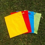 Set of 4 small cotton drawstring bags,  primary colours for games, toys, puzzles