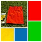 Large cotton drawstring bag, choice of primary colours for toys, classroom, book